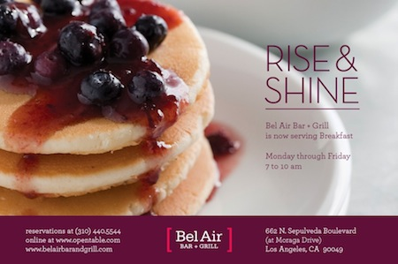 Bel Air Bar + Grill Now Serving Breakfast
